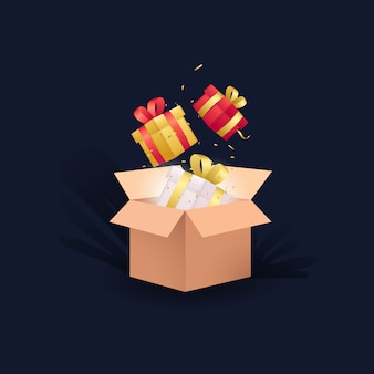 Valentines day  background with box and gift