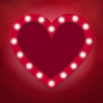 밝은 조명, 심장 모양 발렌타인 배경