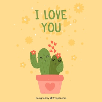 Valentines day background with cactus couple