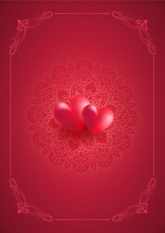 Valentines day background with decorative mandala design and hearts