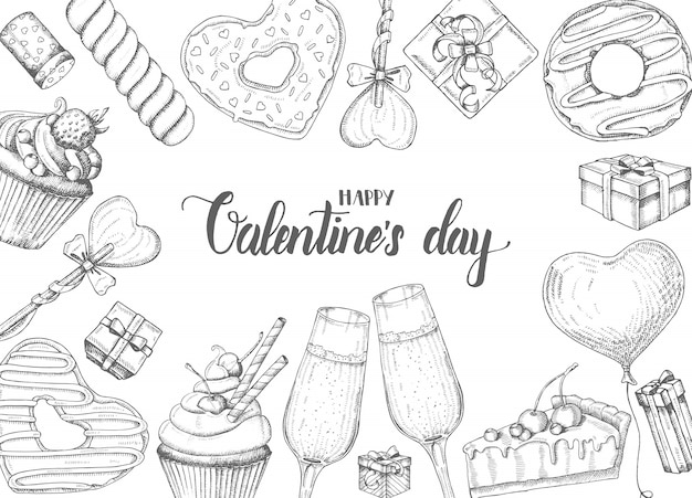 Valentines day background with doodle hand drawn objects in sketch style-lollipop, glazed donut, glass of champagne, gift boxes, pie and cupcake. happy valentines day - lettering calligraphy phrase