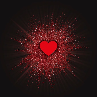 Valentines day background with a glitter burst design