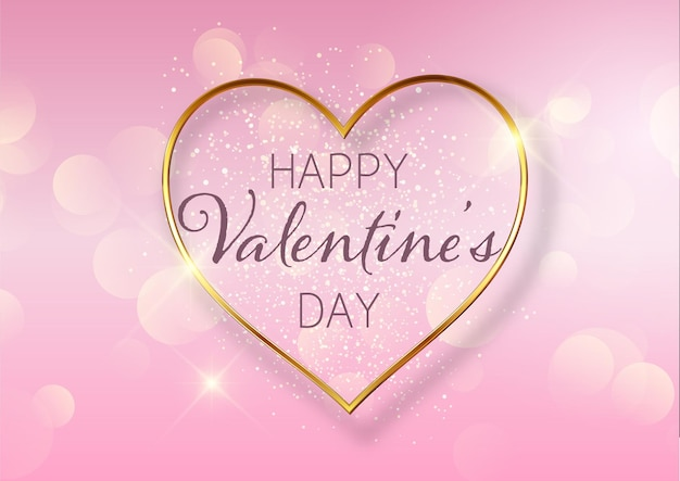 Valentines day background with golden heart design and bokeh lights