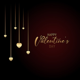 Valentines day background with hanging hearts