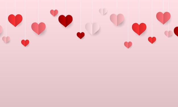 ぶら下がっている紙の心とバレンタインデーの背景ベクトルイラスト