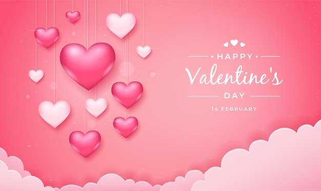Valentines day background with hanging pink and white hearts