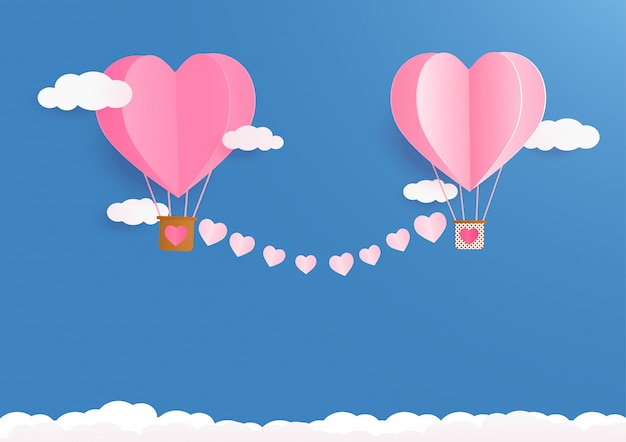 Valentines day background with heart balloons and clouds.