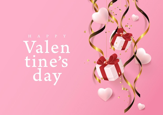 Valentines day background with heart and gift falling