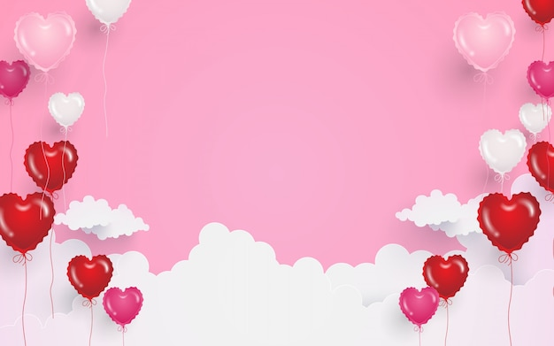 Valentines day background with heart shape balloons and clouds