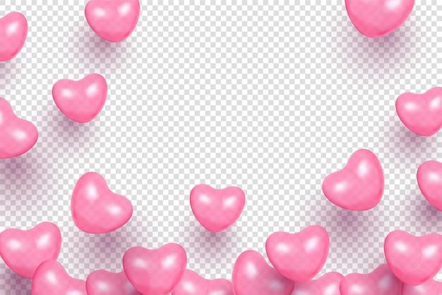 투명에 하트 모양 풍선 발렌타인 배경