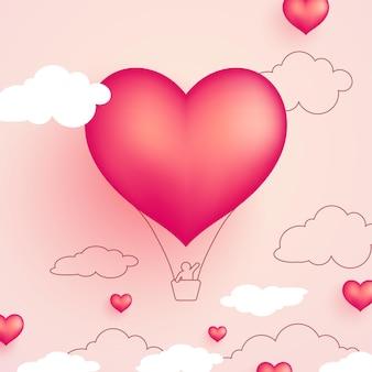 심장 모양 뜨거운 공기 풍선 발렌타인 배경