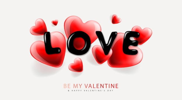 Valentines day background withheart shape and lettering love vector image