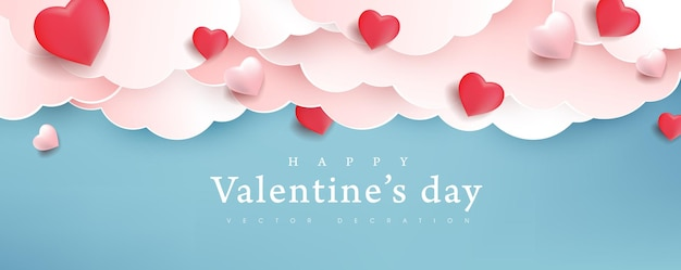 Valentines day background with heart shaped balloons