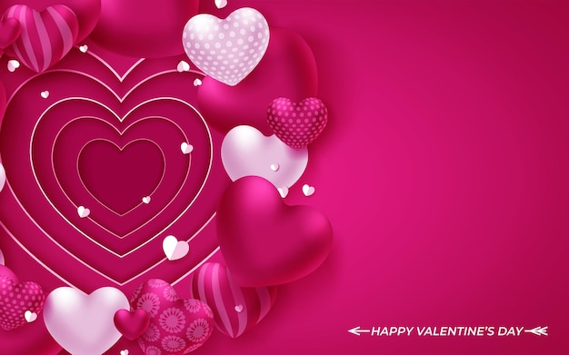 Valentines day background with hearts on pink