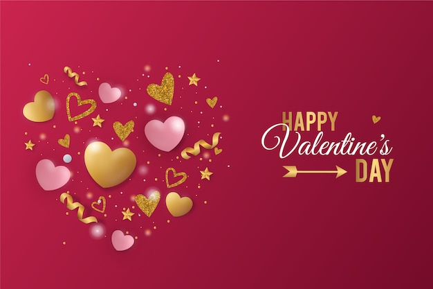Valentines day background with hearts and ribbon