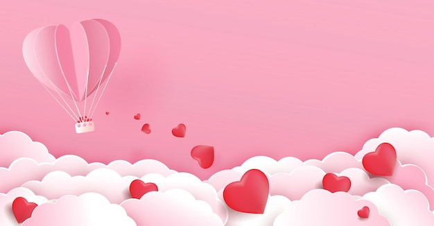 Valentines day background with hot air balloon flying heart float on the cloud