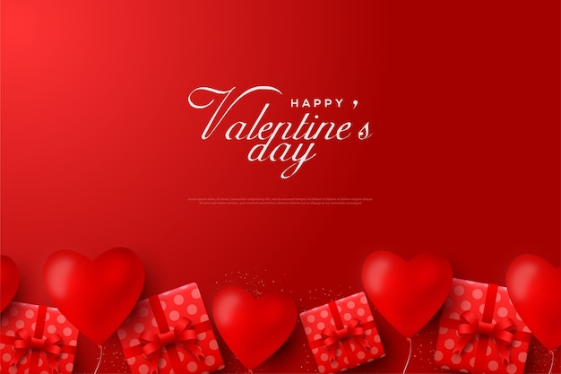 Valentines day background with lots of gift boxes and lots of love balloons