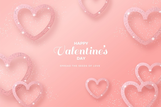 Valentines day background with love line and pink glitter.