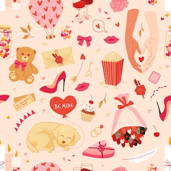 Valentines day background with love symbols and romantic pattern