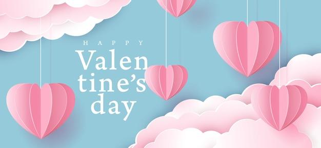 折り紙とバレンタインデーの背景は、雲にぶら下がっている心を作りました