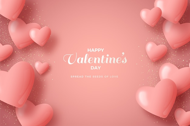 Valentines day background with pink 3d balloons.