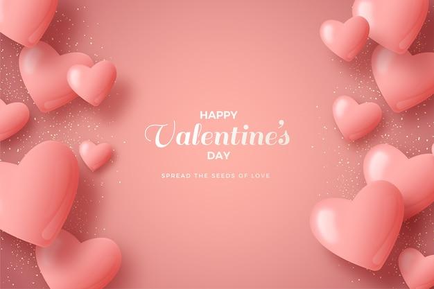 День святого валентина фон с розовыми воздушными шарами 3d.