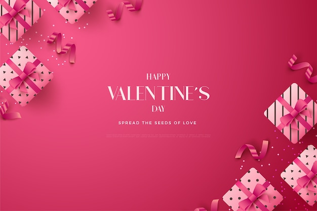 Valentines day background with pink 3d gift box illustration.