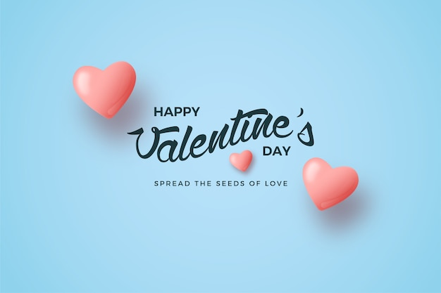 Valentines day background with pink love balloon and writing.