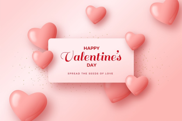 Valentines day background with pink love balloons and white paper.
