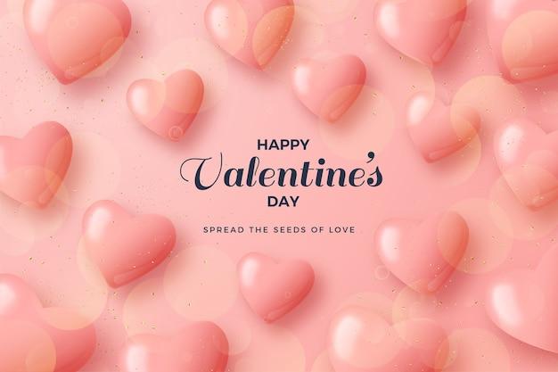 День святого валентина фон с розовыми воздушными шарами любви.
