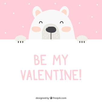 Valentines day background with polar bear