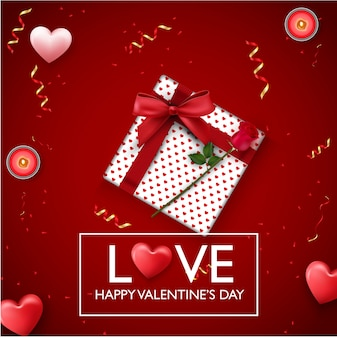Valentines day background with red heart, candles and presents