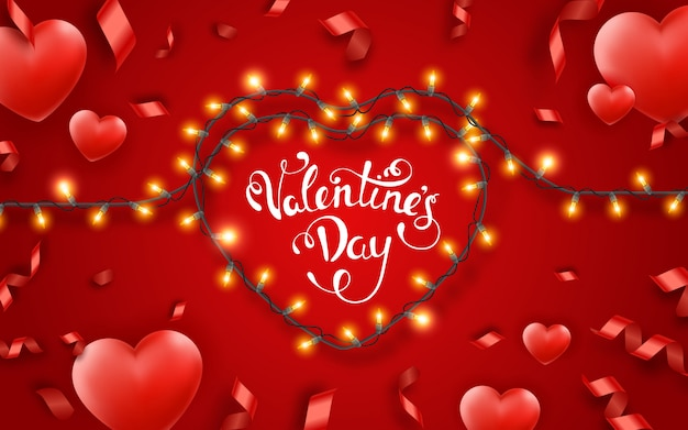 Valentines day background with red hearts, ribbons, lights and text.. valentines day festive heart shaped lighting decoration