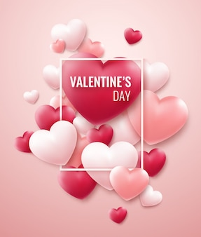 Valentines day background with red, pink hearts and frame for text