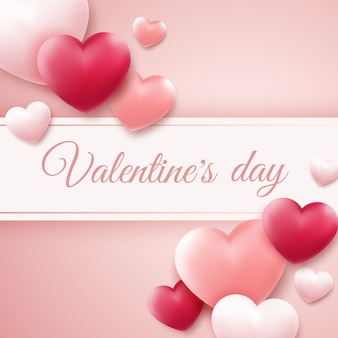 Valentines day background with red, pink hearts and place for text