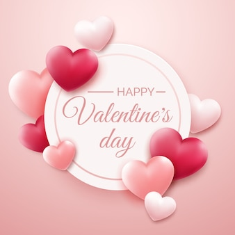 Valentines day background with red and pink hearts and place for text