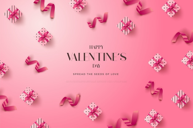 Valentines day background with scattered gift boxes with pink ribbons.