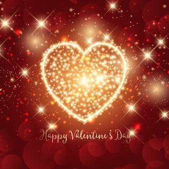 キラキラハートのデザインとバレンタインデーの背景