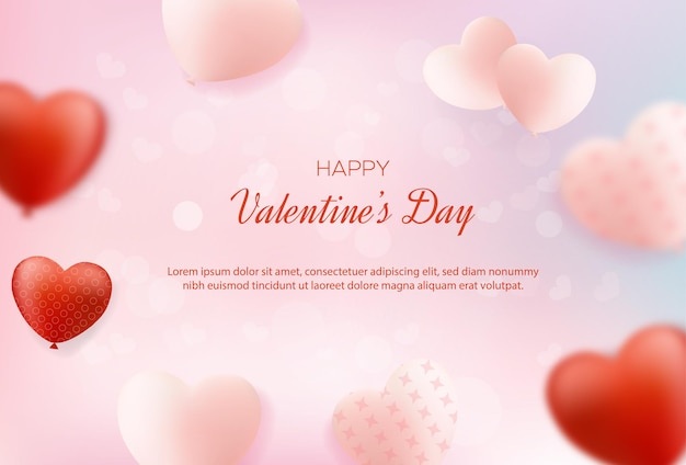 Valentines day background with sweet love balloons