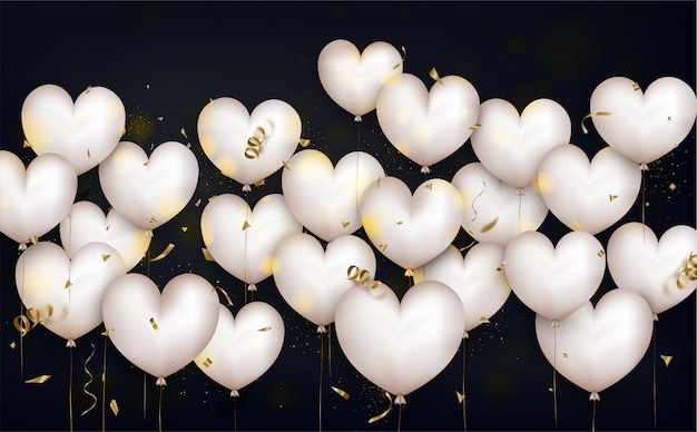 Valentines day background with white heart balloons