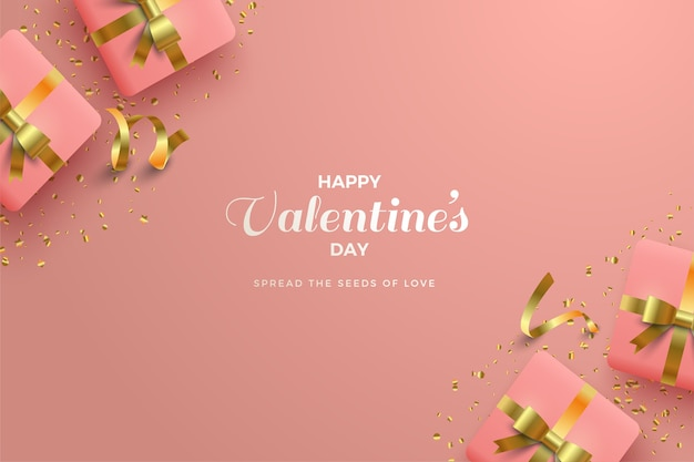 Valentines day background with white writing and 3d pink gift box.