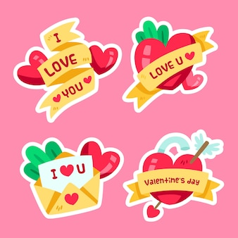 Valentines day badge collection flat design