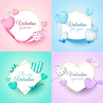 Valentines day badge collection with hearts