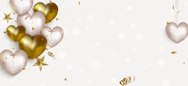 Valentines day banner background with white and gold ballons