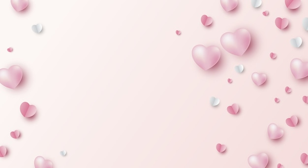 Valentines day banner design of hearts on pink