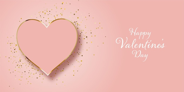 Valentines day banner design with gold glitter and heart