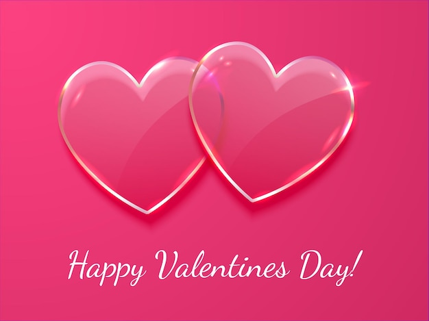 Valentines day banner, poster template. 2 realistic vector glass heart on pink background with inscription