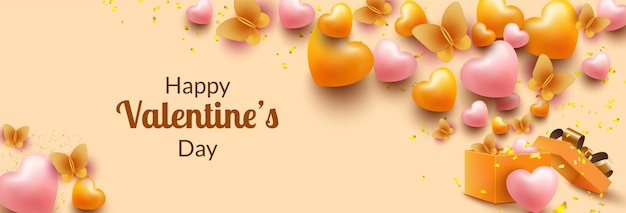 Valentines day banner template with open gift box and surprise beautiful butterfly and heart shape