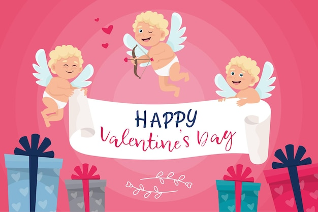 Valentines day banner with cute cupid and gift box