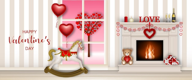 Баннер на день святого валентина с камином и лошадкой-качалкой